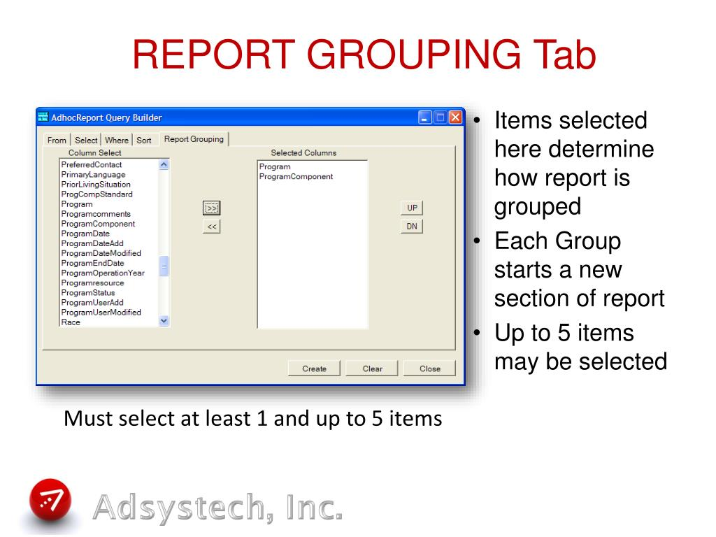 REPORT GROUPING Tab
