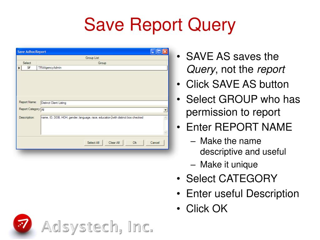 Save Report Query