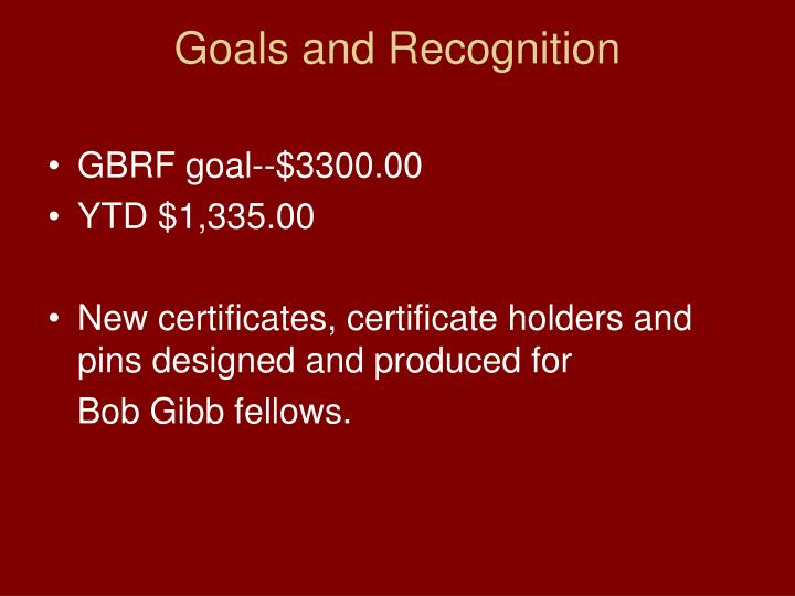 Goals and Recognition