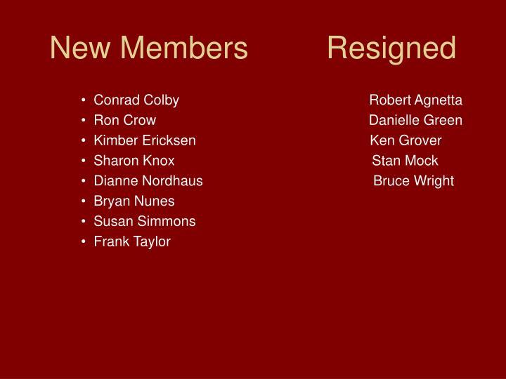 New Members         Resigned