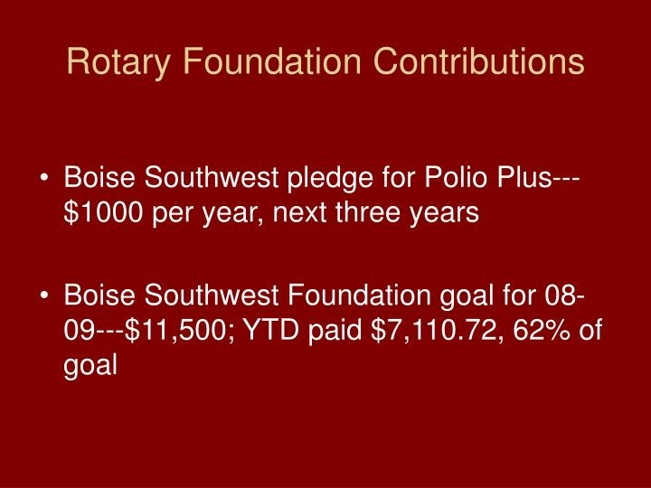 Rotary Foundation Contributions