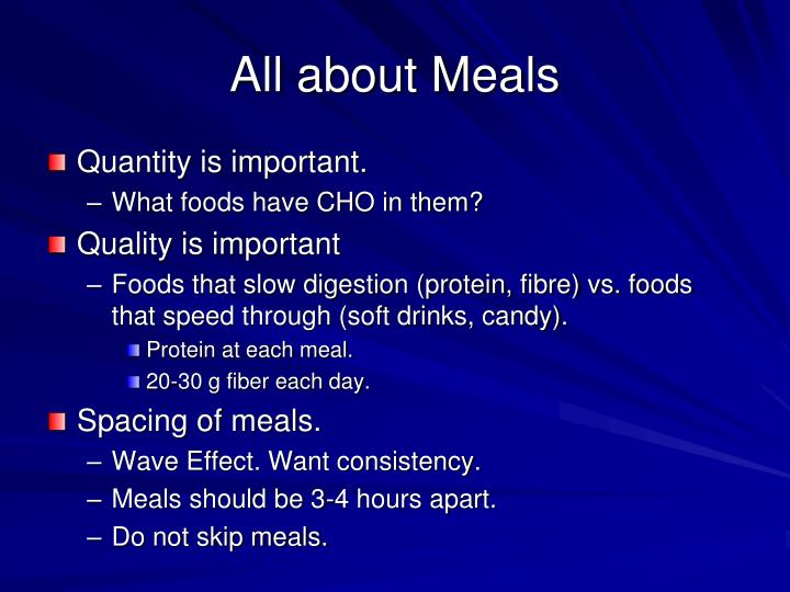 All about Meals
