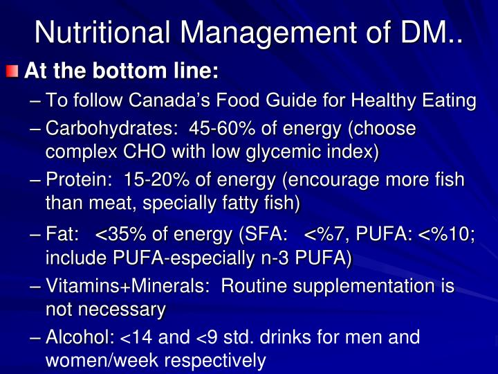 Nutritional management of dm1