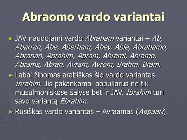 Abraomo vardo variantai