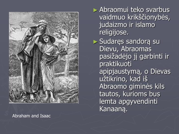 Abraomui teko svarbus vaidmuo krikščionybės, judaizmo ir islamo religijose.