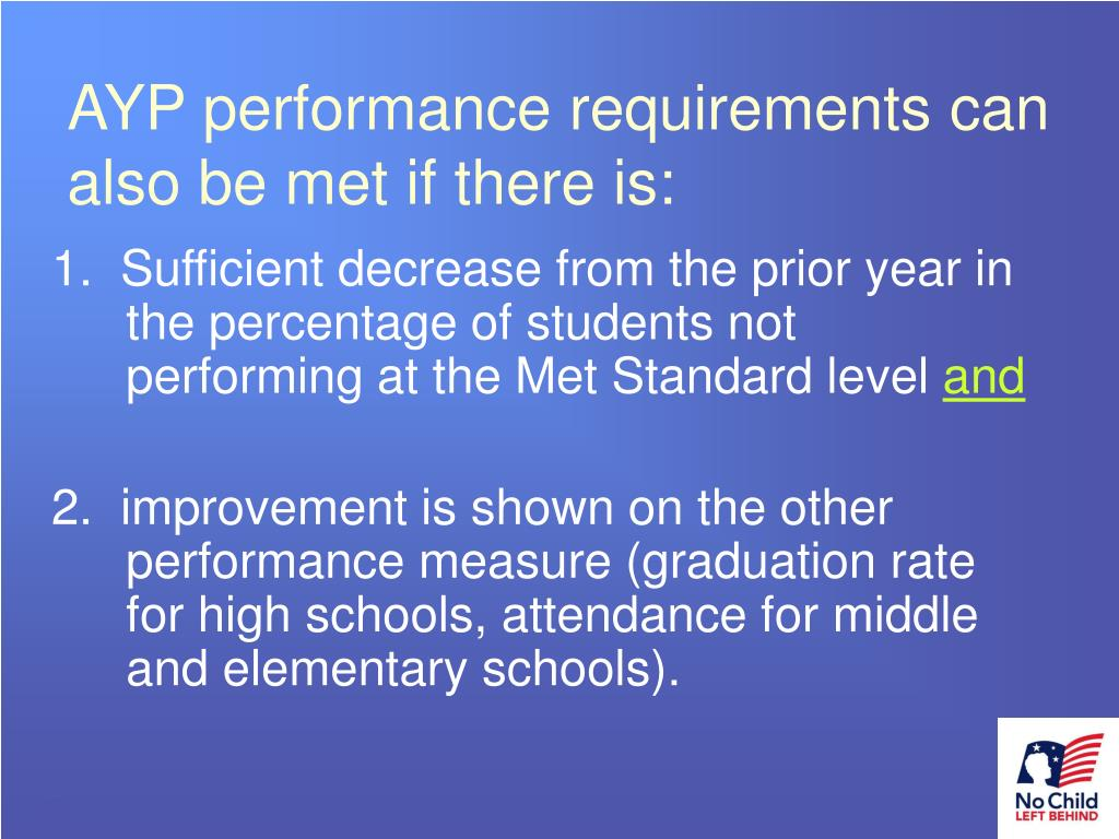 AYP performance requirements can also be met if there is: