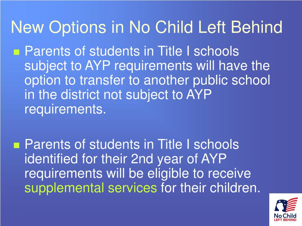 New Options in No Child Left Behind