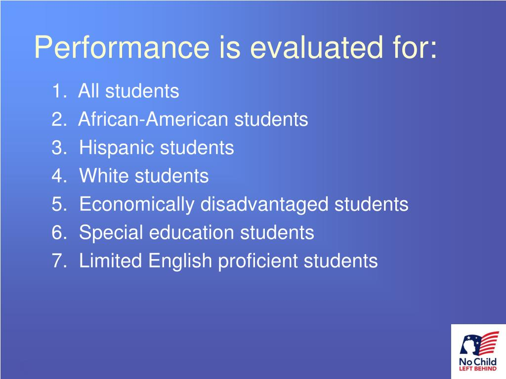 Performance is evaluated for: