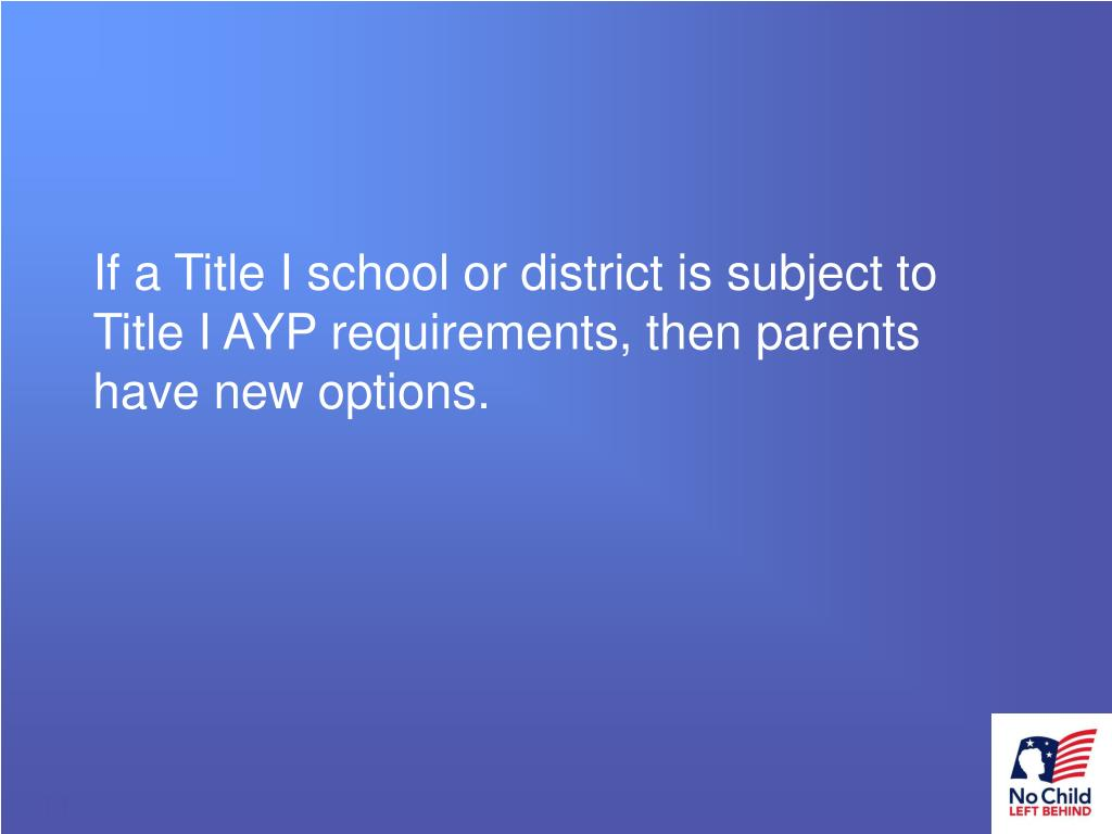 If a Title I school or district is subject to Title I AYP requirements, then parents have new options.