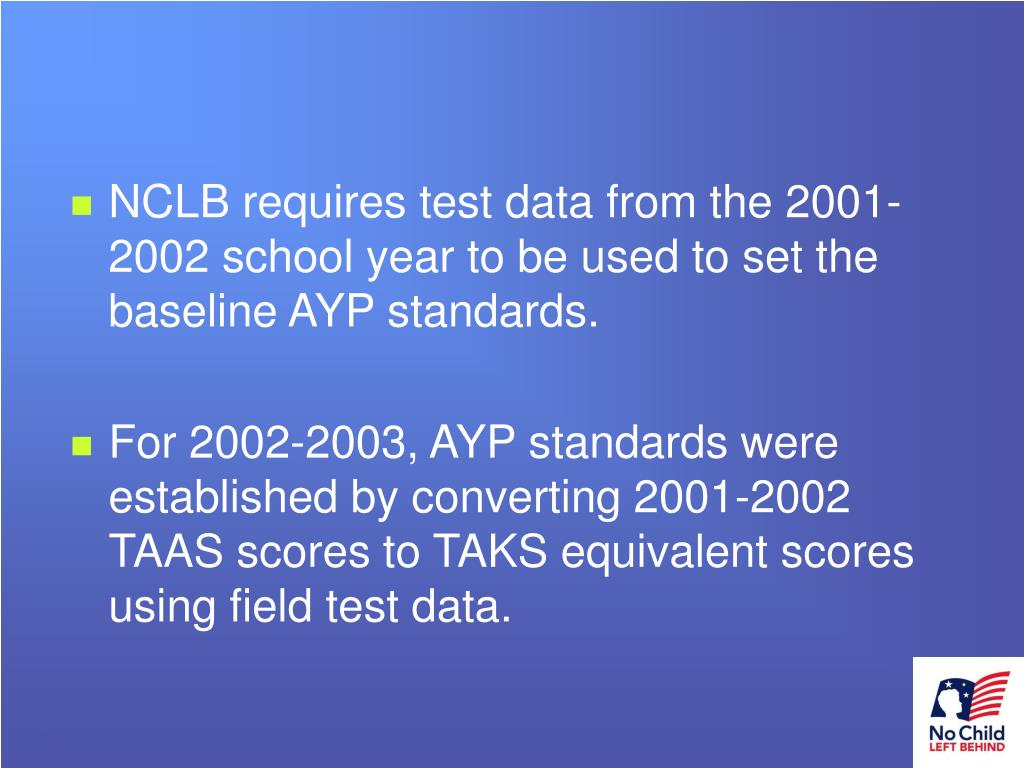 NCLB requires test data from the 2001-2002 school year to be used to set the baseline AYP standards.