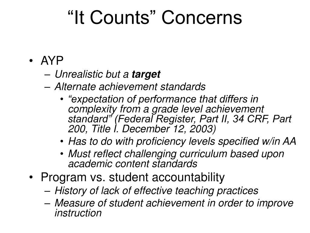 """It Counts"" Concerns"