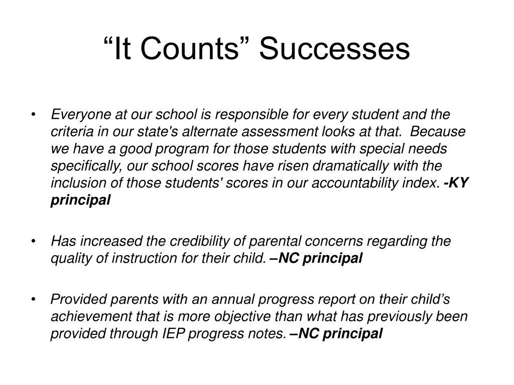 """""""It Counts"""" Successes"""