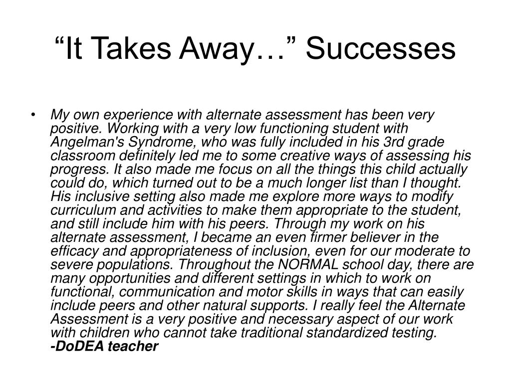 """""""It Takes Away…"""" Successes"""