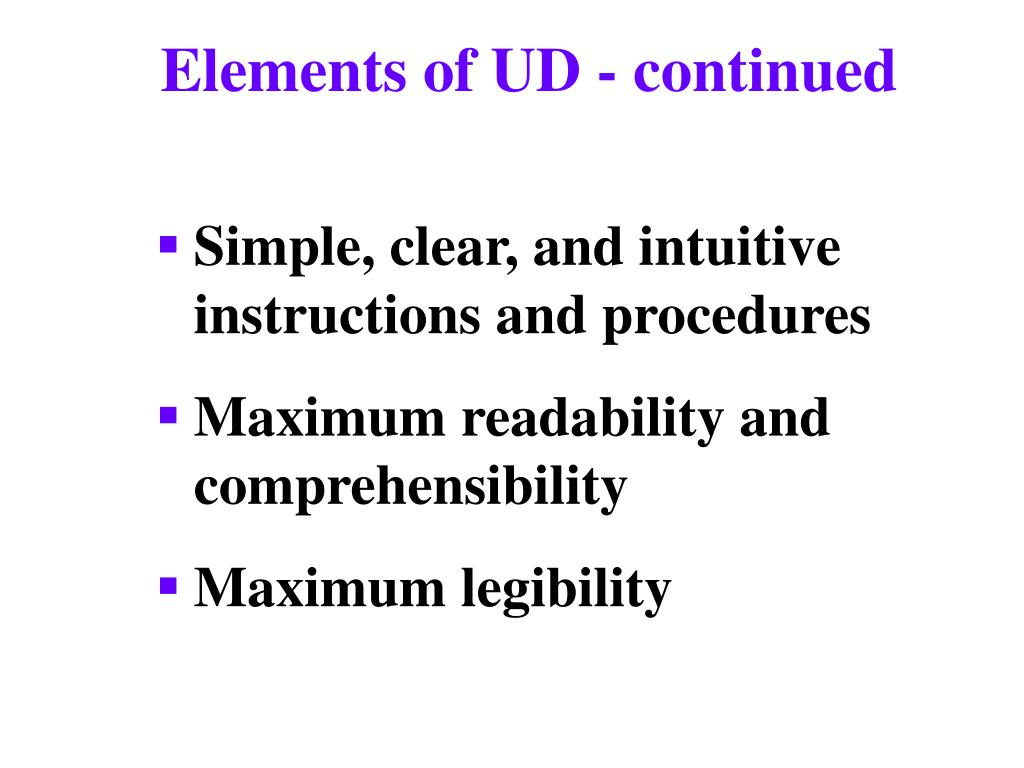 Elements of UD - continued
