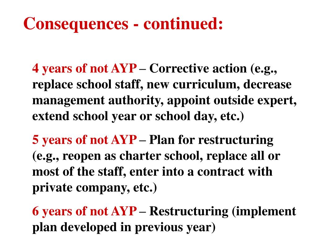 Consequences - continued: