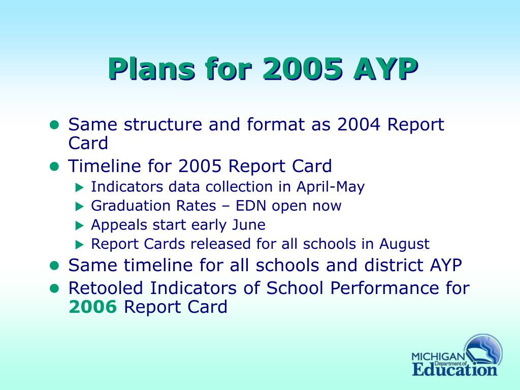 Plans for 2005 AYP
