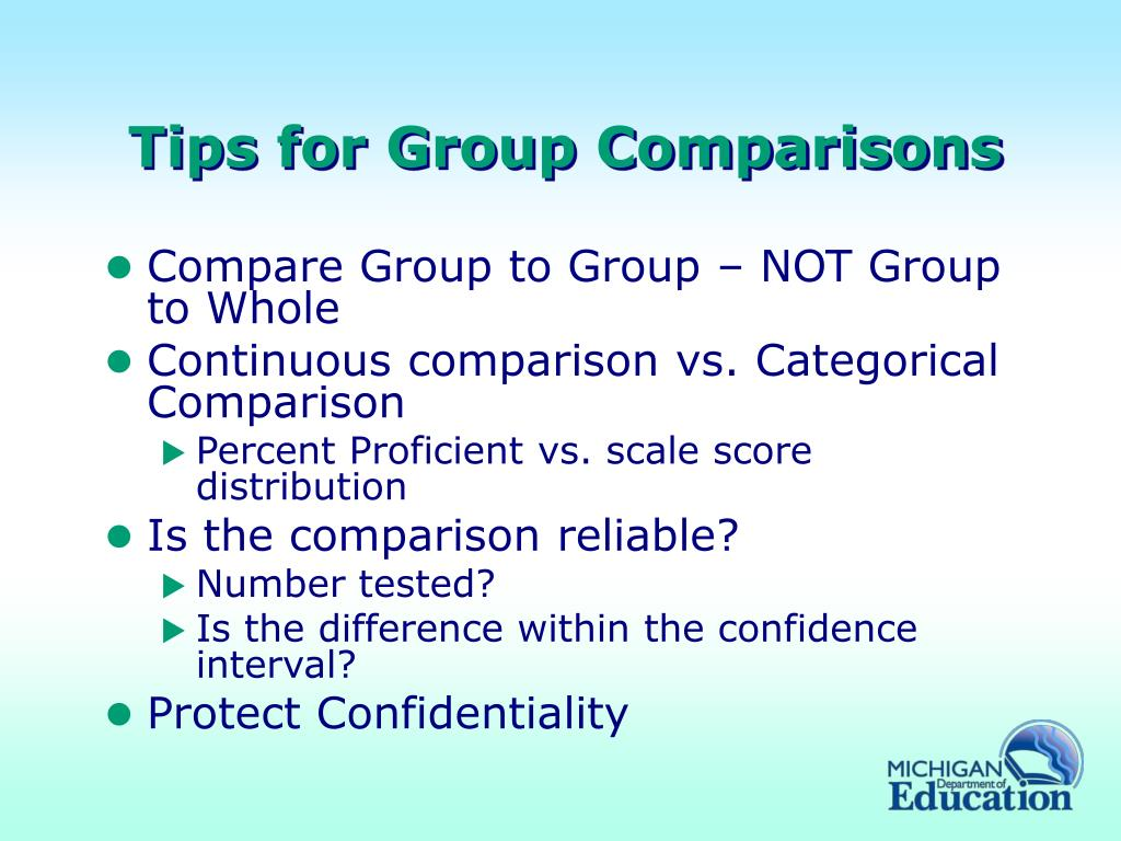 Tips for Group Comparisons