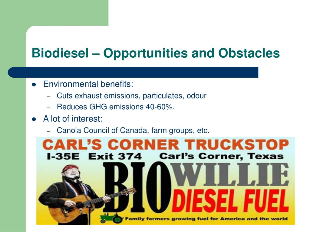 Biodiesel – Opportunities and Obstacles