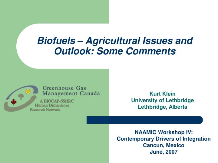 Biofuels agricultural issues and outlook some comments