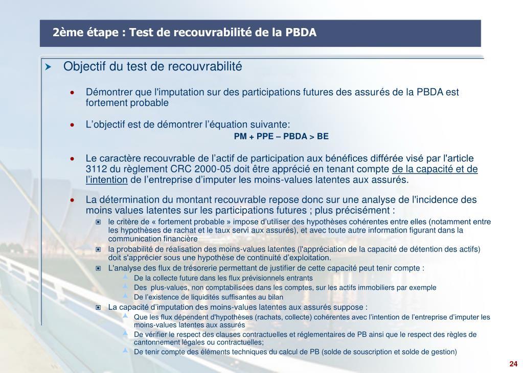 2ème étape : Test de recouvrabilité de la PBDA
