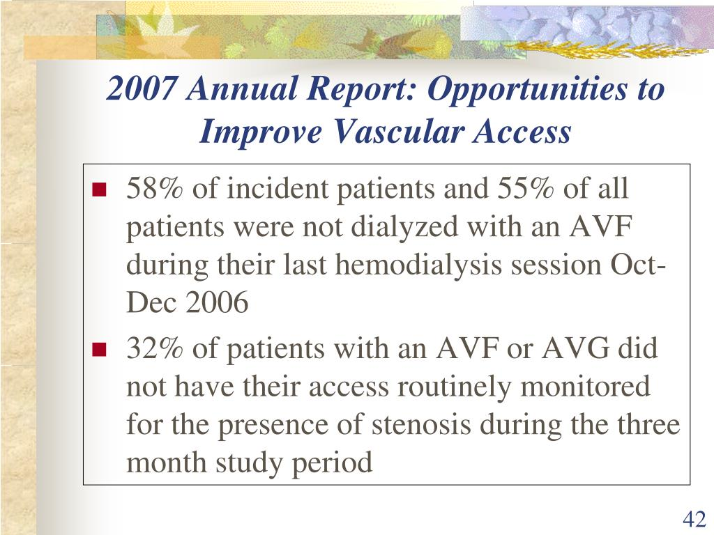 2007 Annual Report: Opportunities to Improve Vascular Access