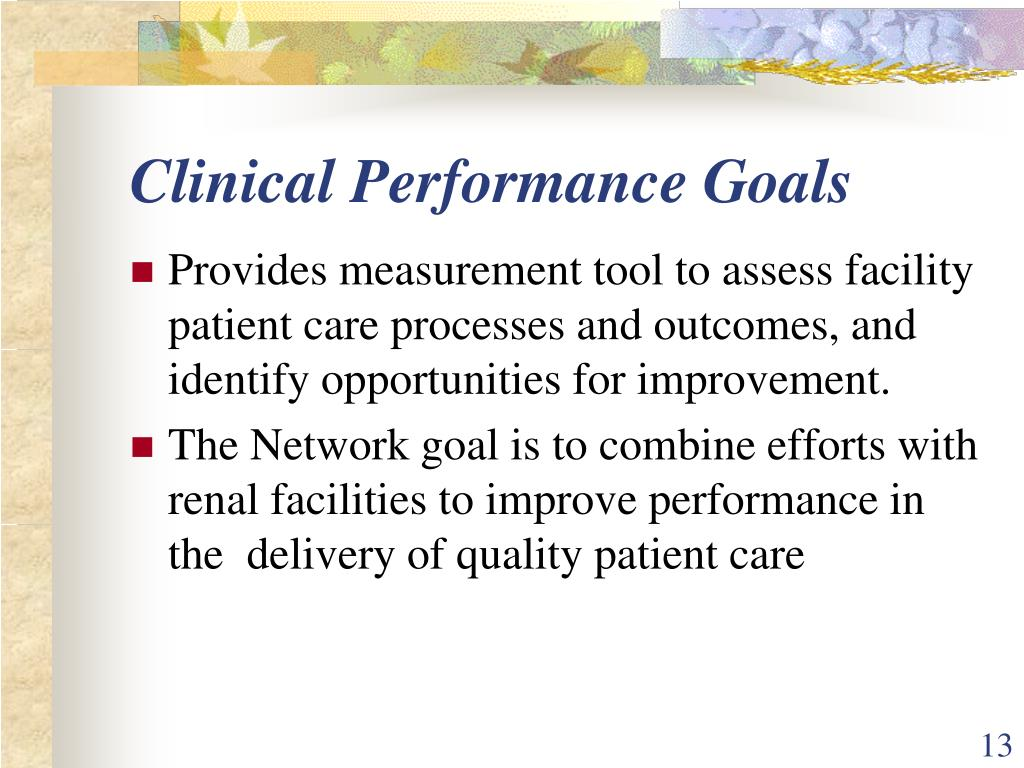Clinical Performance Goals