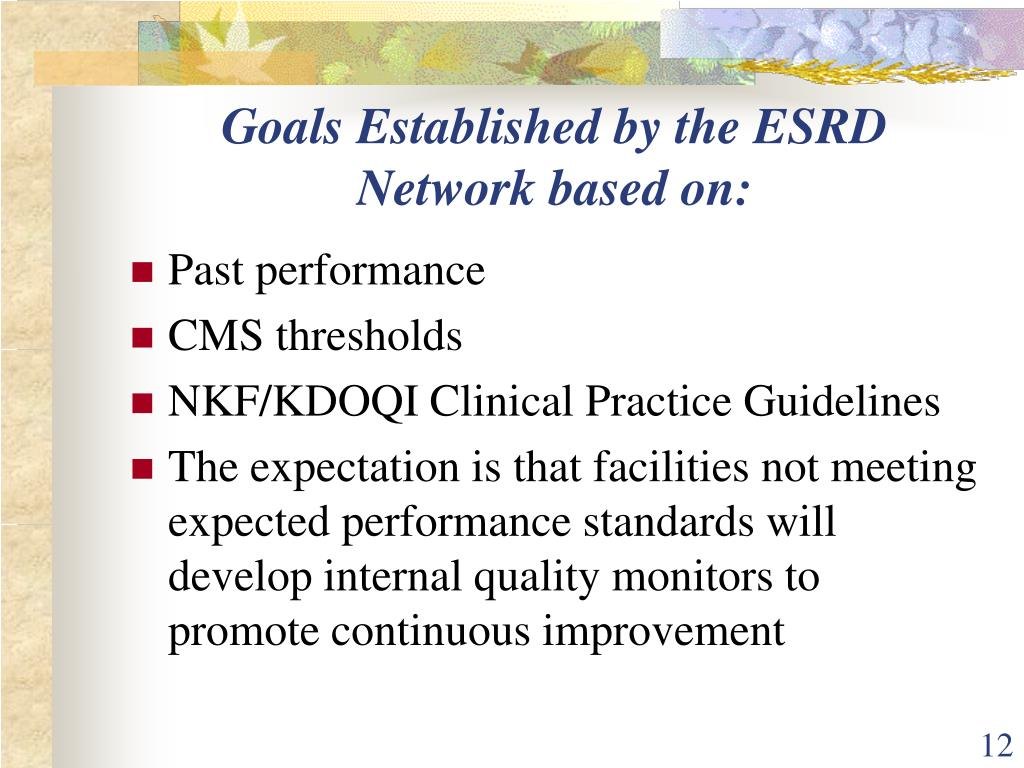 Goals Established by the ESRD Network based on: