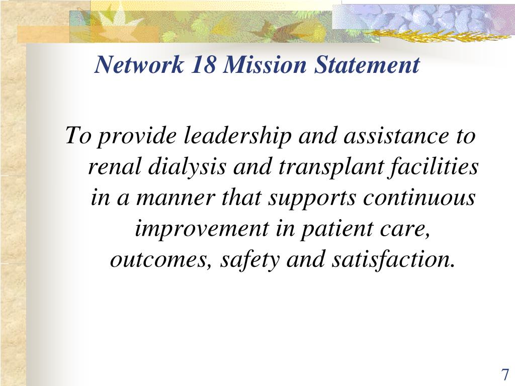 Network 18 Mission Statement