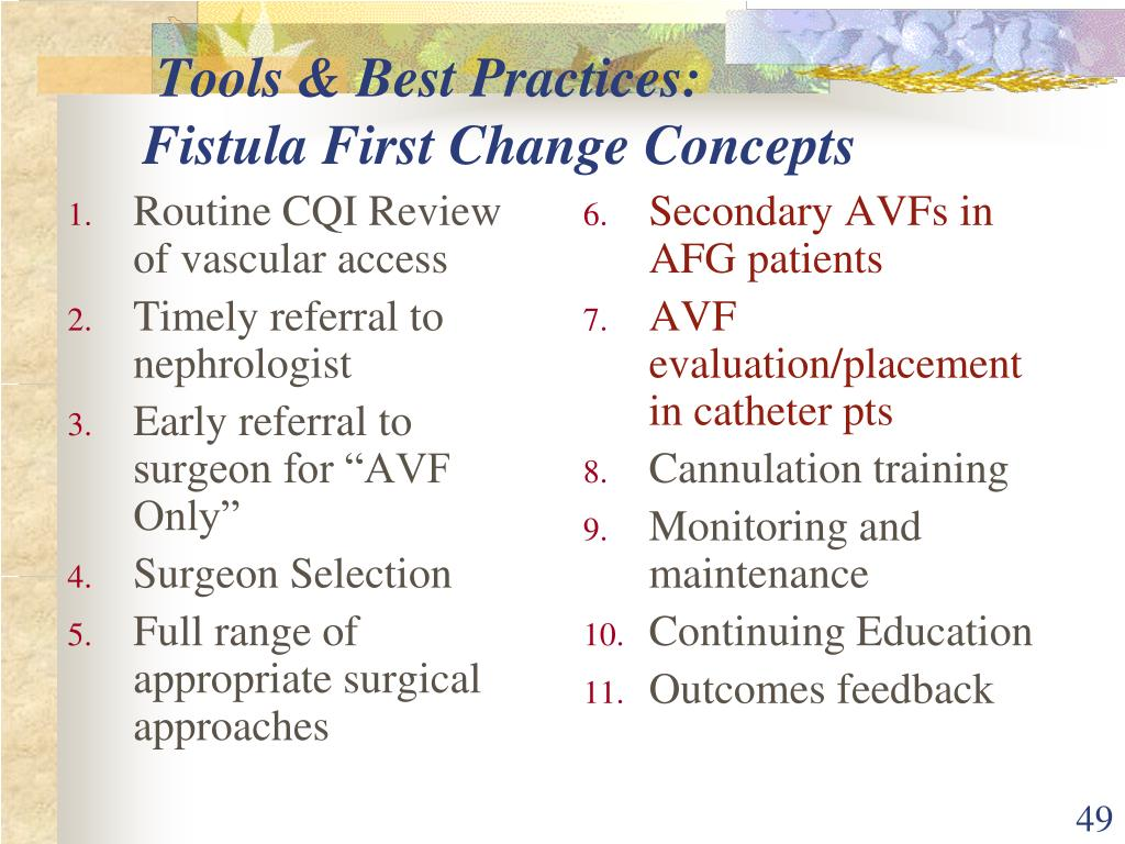 Routine CQI Review of vascular access
