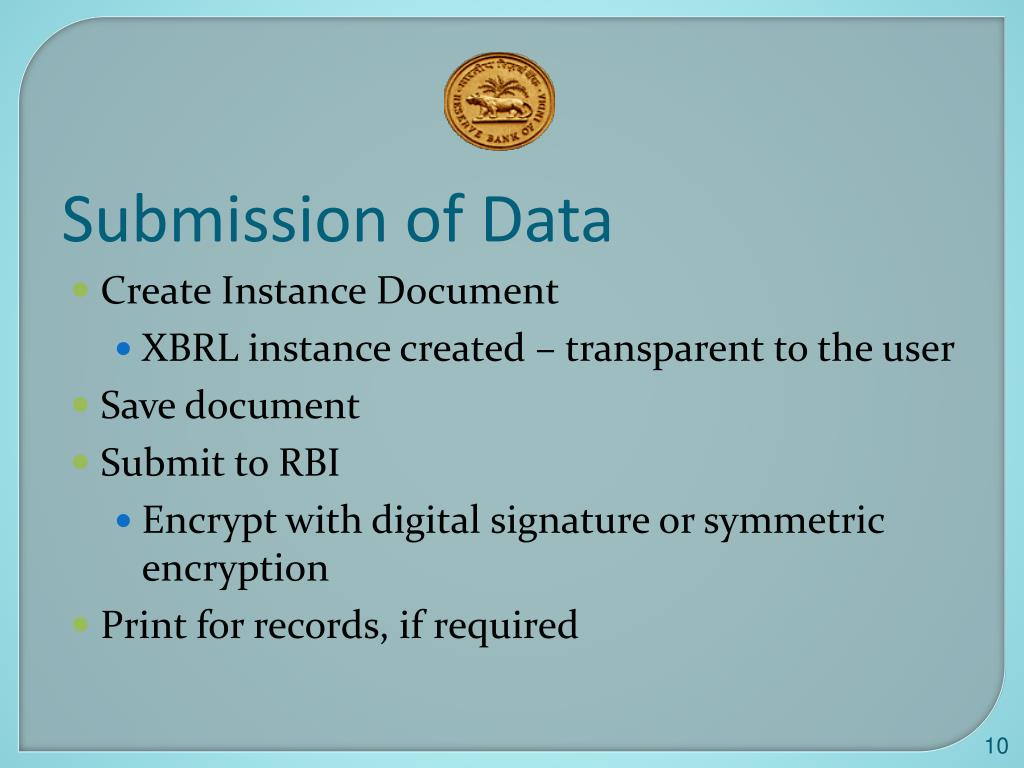 Submission of Data