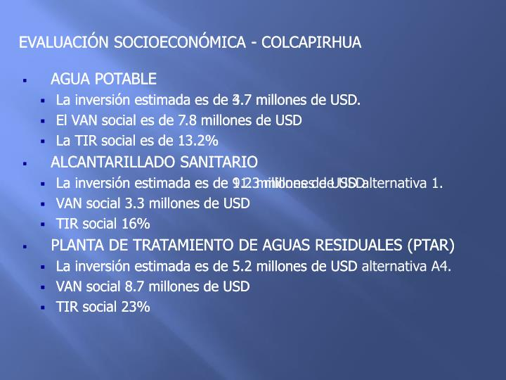 EVALUACIÓN SOCIOECONÓMICA - COLCAPIRHUA