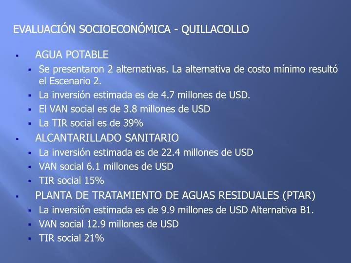 EVALUACIÓN SOCIOECONÓMICA - QUILLACOLLO