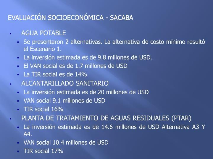 EVALUACIÓN SOCIOECONÓMICA - SACABA