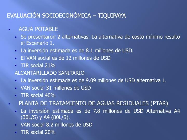 EVALUACIÓN SOCIOECONÓMICA – TIQUIPAYA