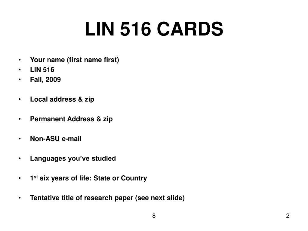 LIN 516 CARDS