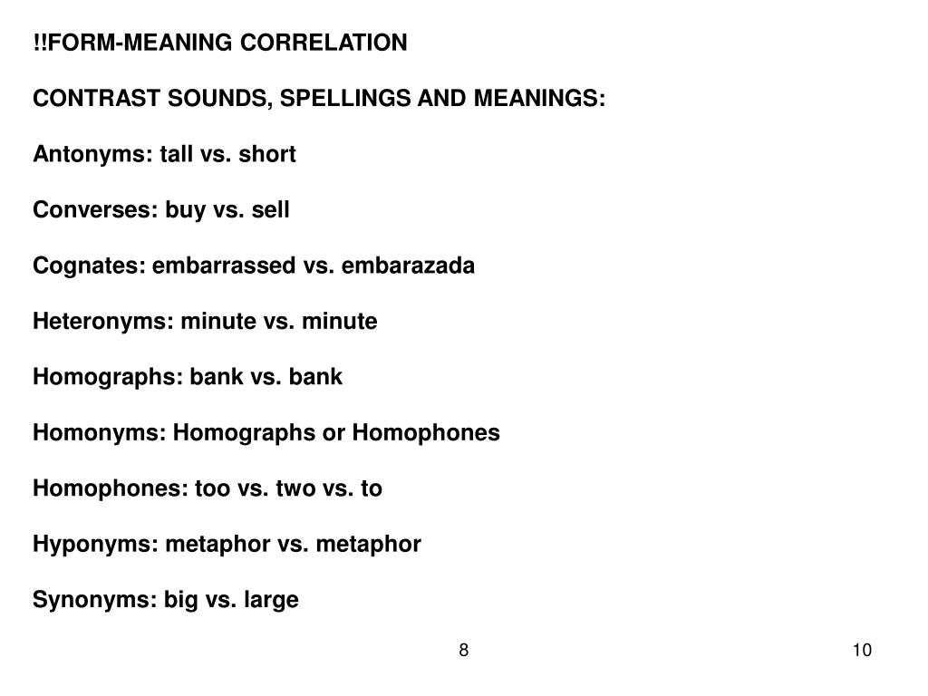 !!FORM-MEANING CORRELATION