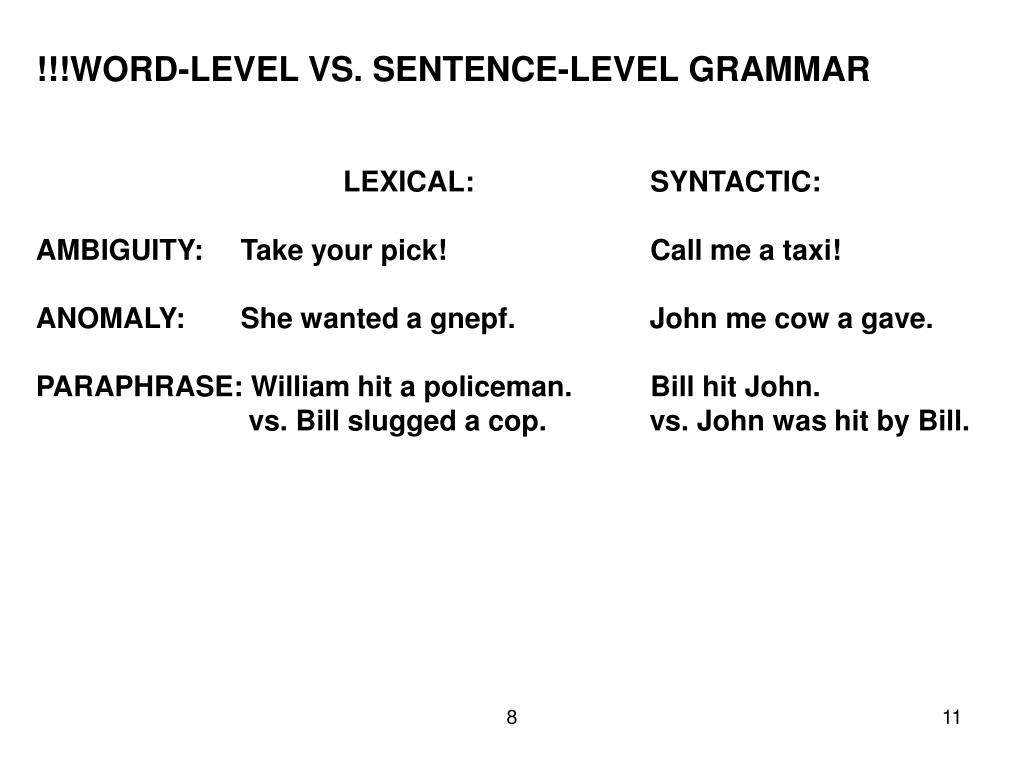 !!!WORD-LEVEL VS. SENTENCE-LEVEL GRAMMAR