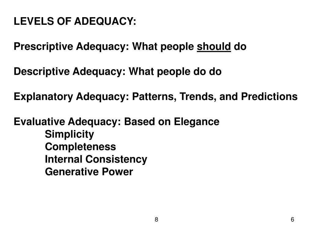 LEVELS OF ADEQUACY: