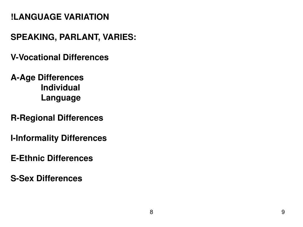 !LANGUAGE VARIATION