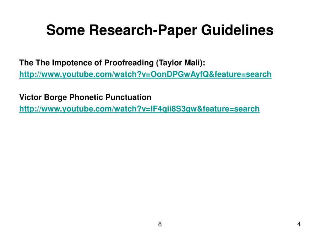Some Research-Paper Guidelines
