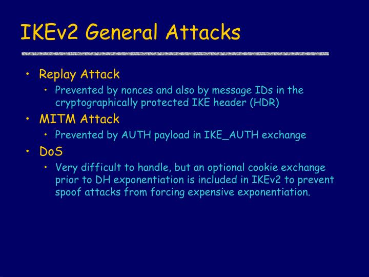 IKEv2 General Attacks