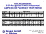credit risk measurement bsp recognized credit assessment agencies and mapping of their ratings