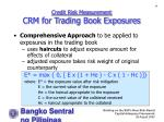 credit risk measurement crm for trading book exposures