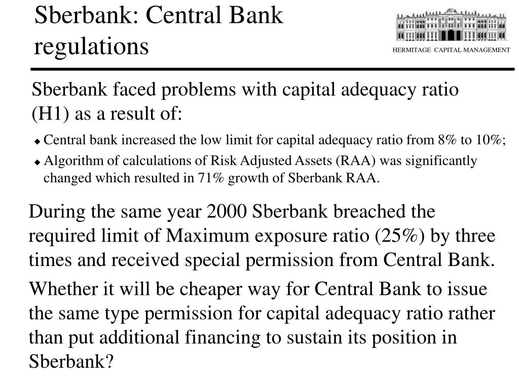 Sberbank: Central Bank regulations