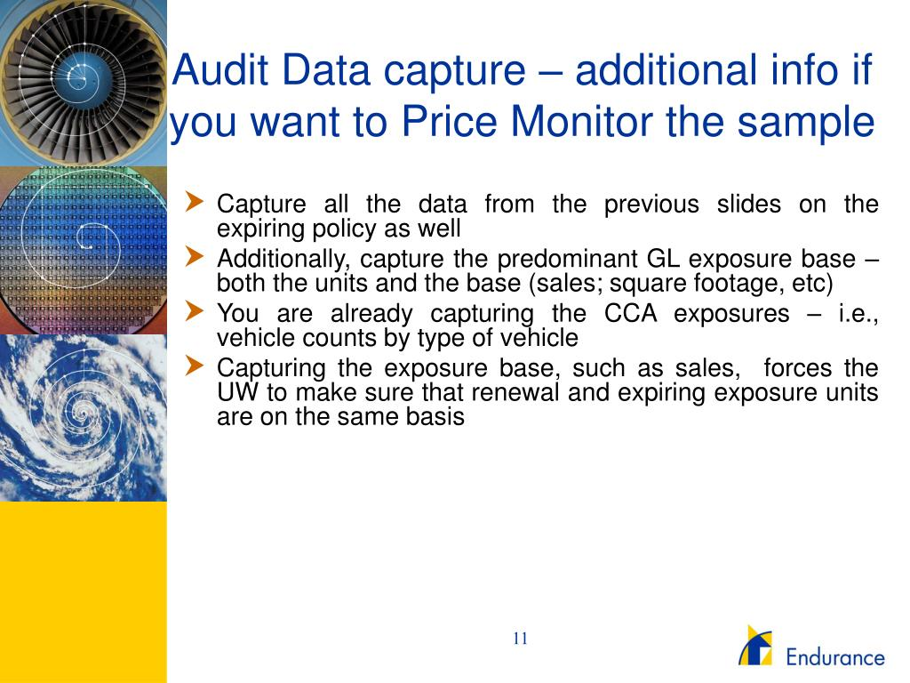Audit Data capture – additional info if you want to Price Monitor the sample