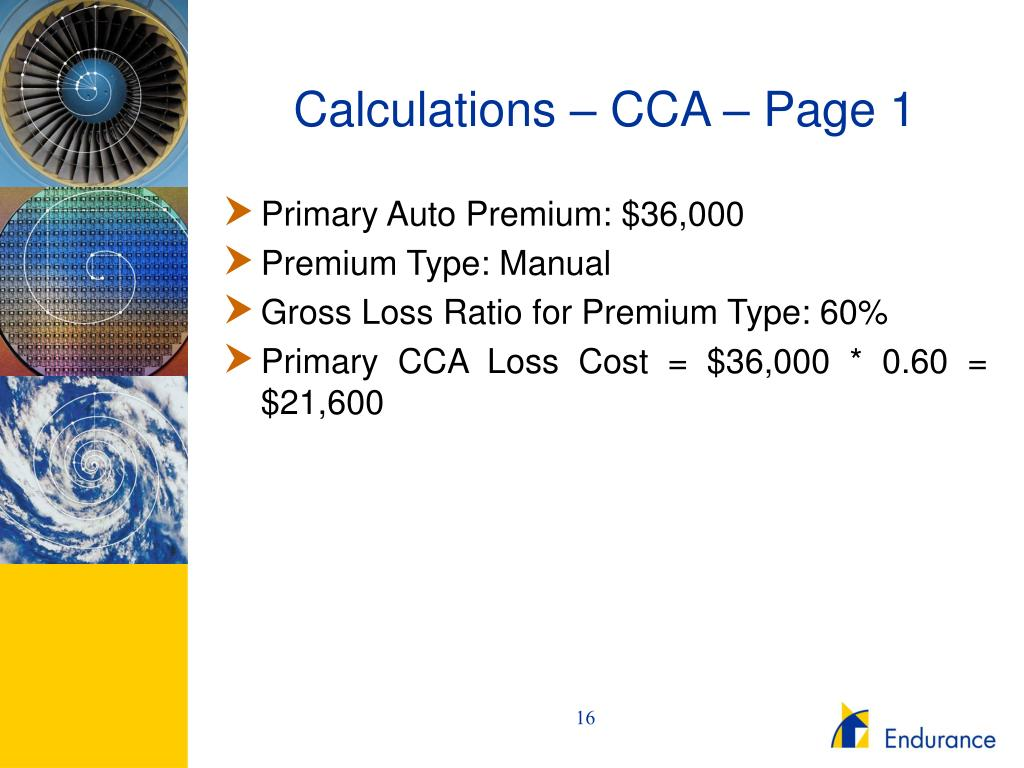 Calculations – CCA – Page 1