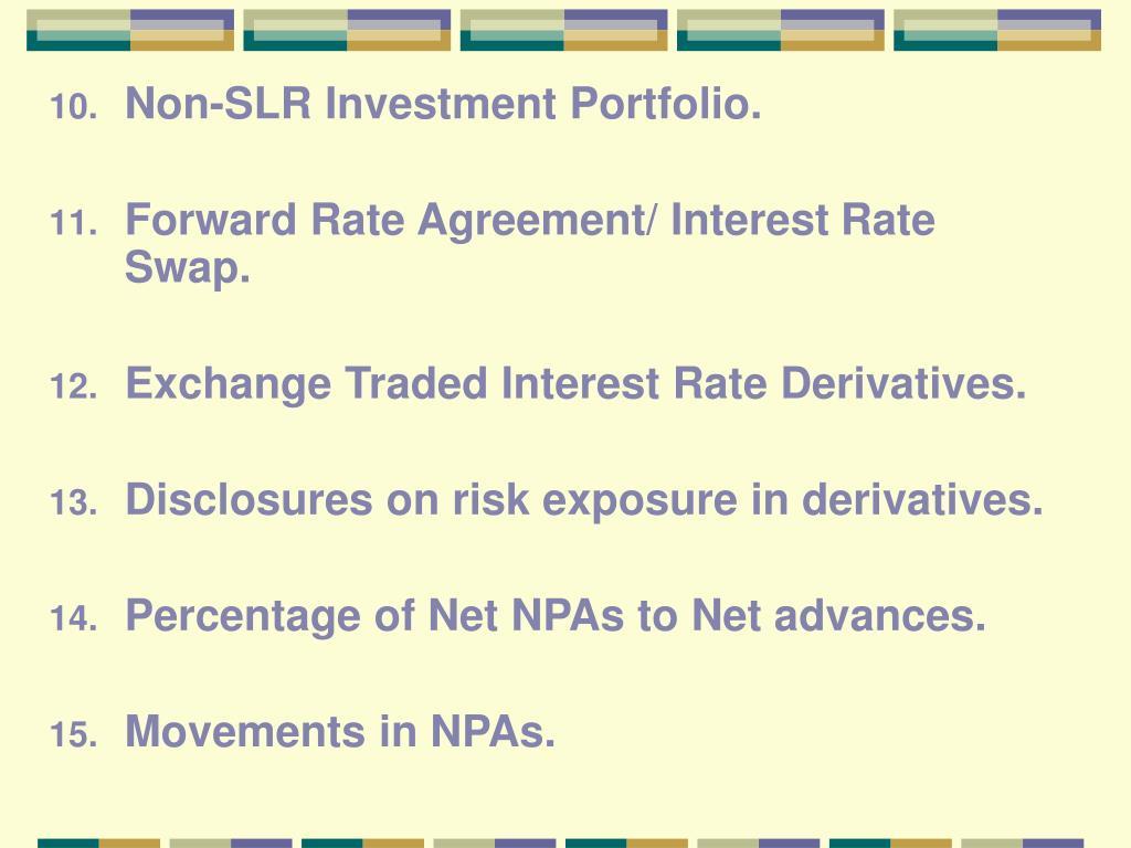 Non-SLR Investment Portfolio.