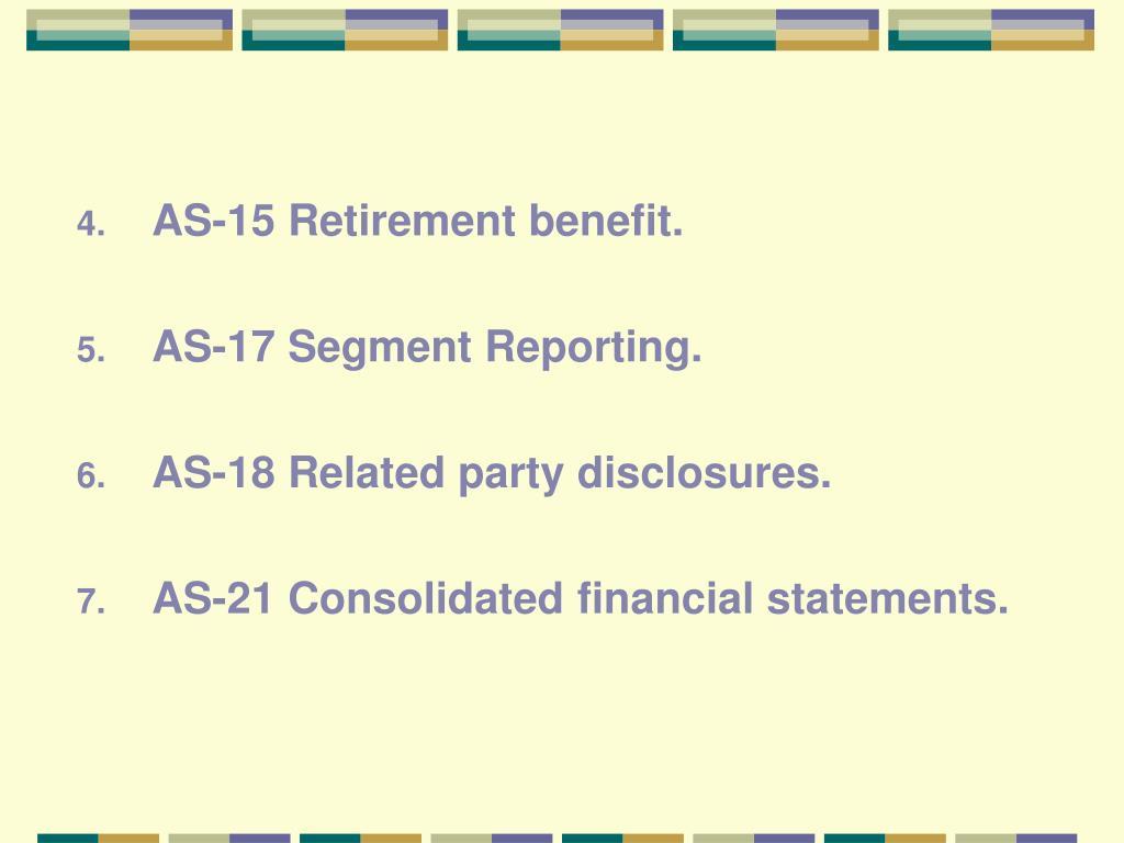 AS-15 Retirement benefit.