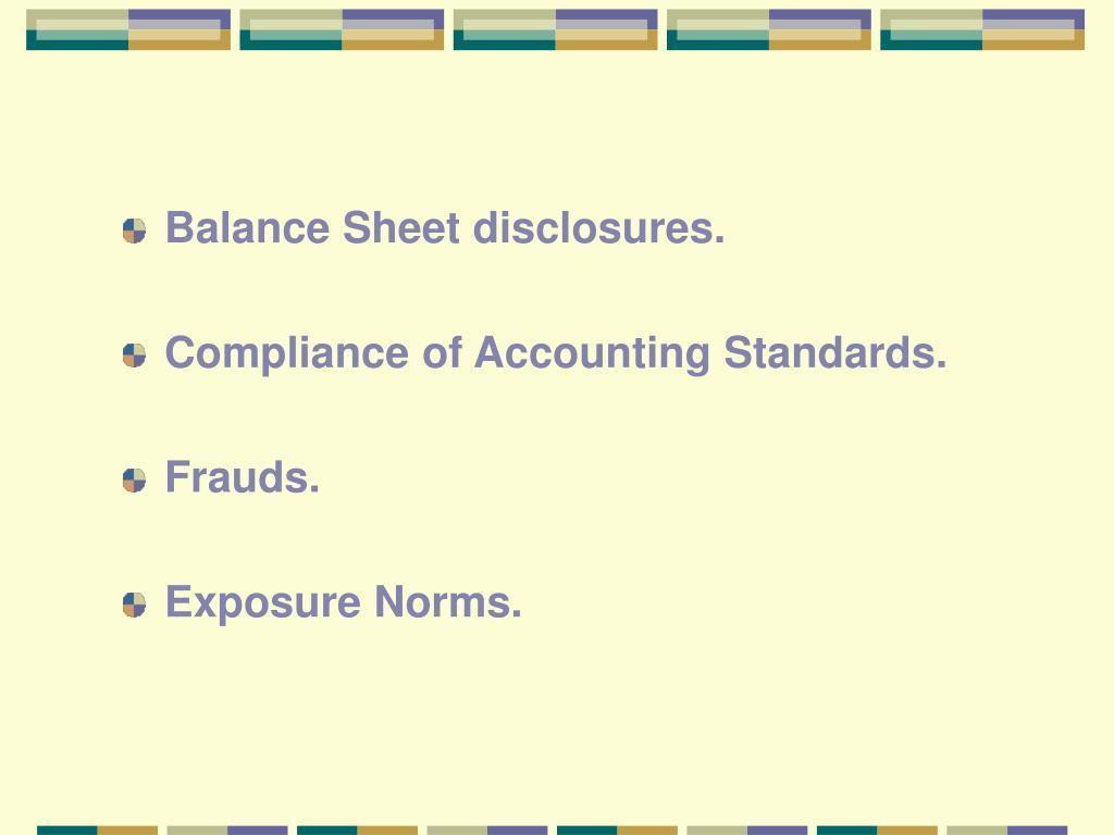 Balance Sheet disclosures.