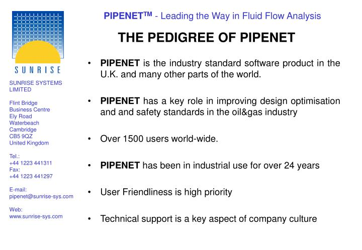 THE PEDIGREE OF PIPENET